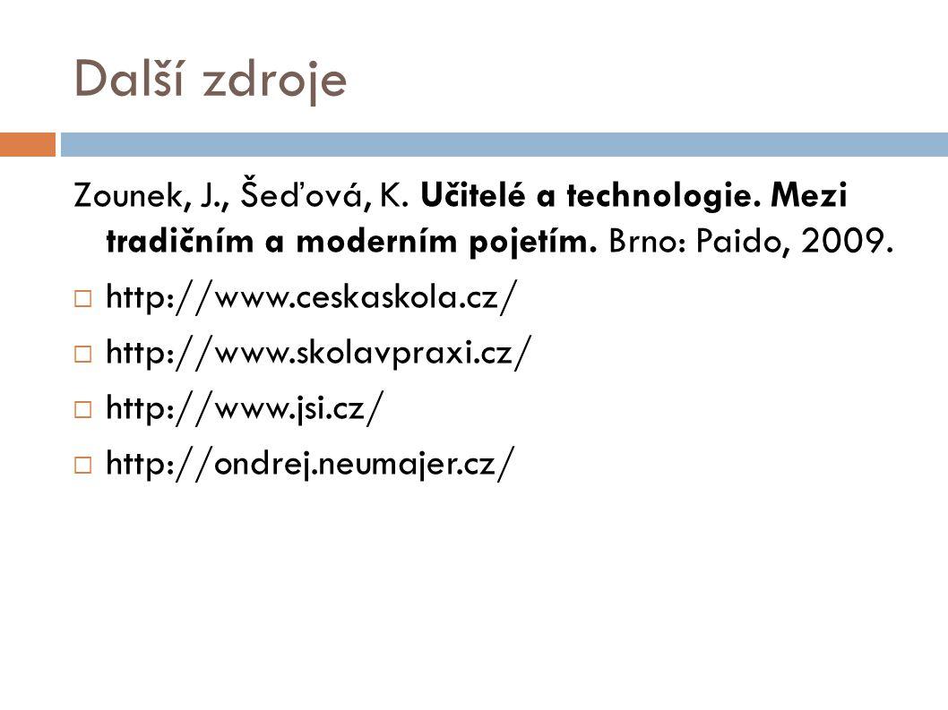 Další zdroje Zounek, J., Šeďová, K. Učitelé a technologie. Mezi tradičním a moderním pojetím. Brno: Paido, 2009.