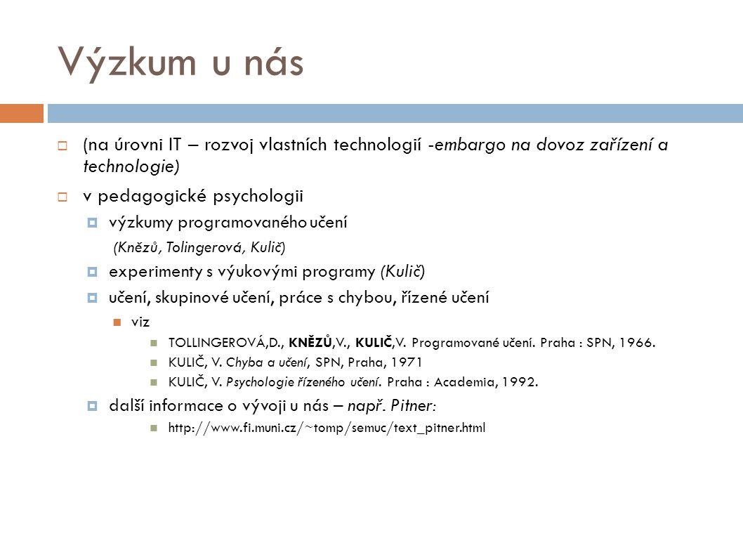 Výzkum u nás (na úrovni IT – rozvoj vlastních technologií -embargo na dovoz zařízení a technologie)