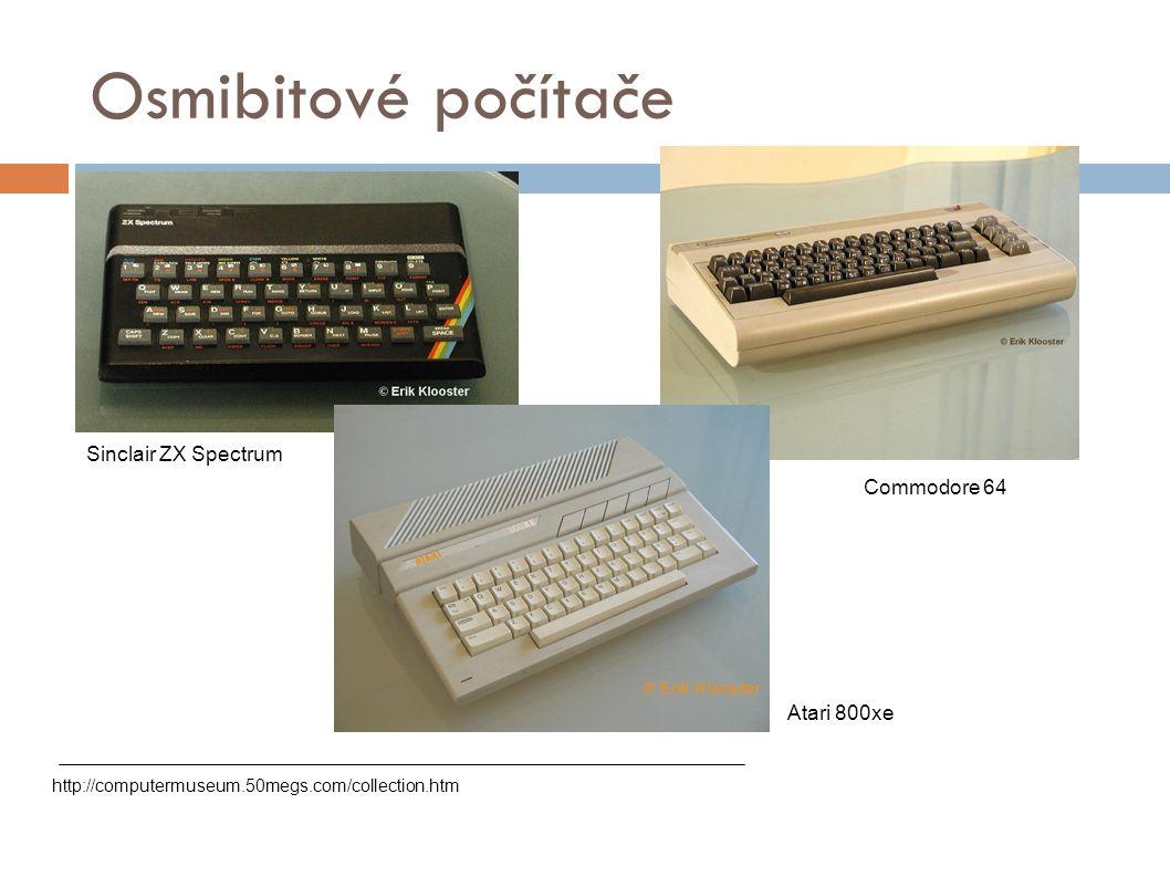 Osmibitové počítače Sinclair ZX Spectrum Commodore 64 Atari 800xe
