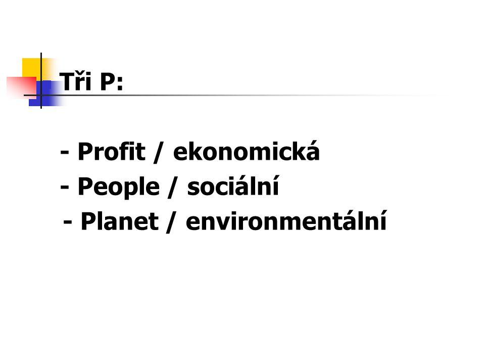 Tři P: - Profit / ekonomická - People / sociální - Planet / environmentální