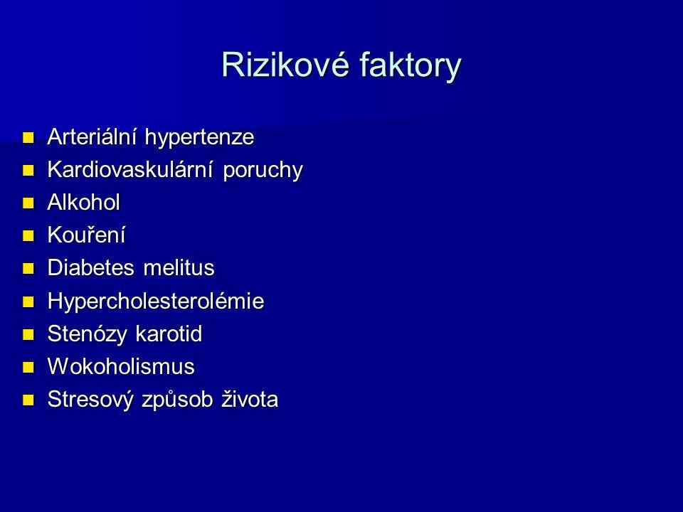 Rizikové faktory Arteriální hypertenze Kardiovaskulární poruchy
