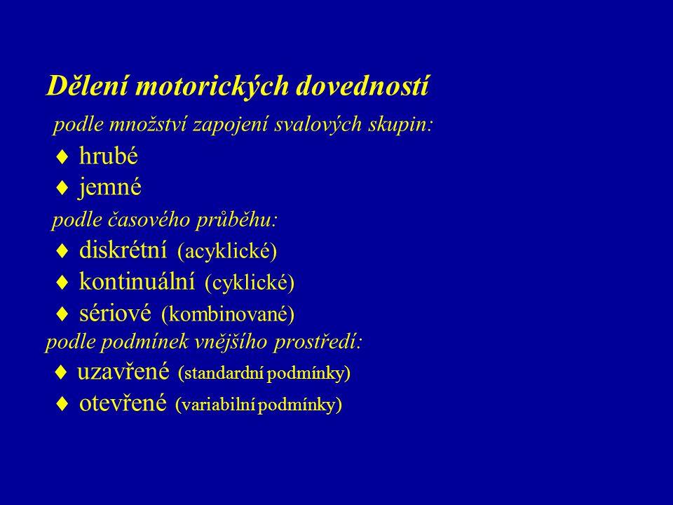 Dělení motorických dovedností podle množství zapojení svalových skupin:  hrubé  jemné podle časového průběhu:  diskrétní (acyklické)  kontinuální (cyklické)  sériové (kombinované) podle podmínek vnějšího prostředí:  uzavřené (standardní podmínky)  otevřené (variabilní podmínky)