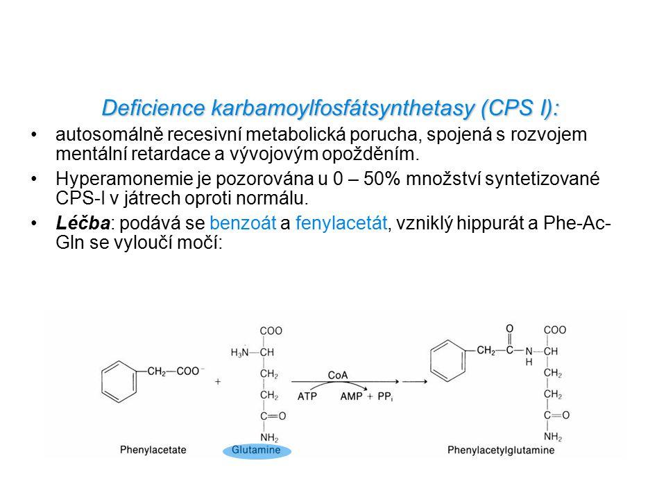 Deficience karbamoylfosfátsynthetasy (CPS I):