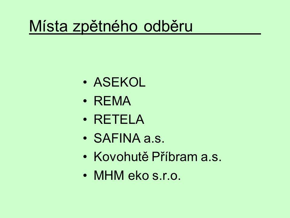 Místa zpětného odběru ASEKOL REMA RETELA SAFINA a.s.