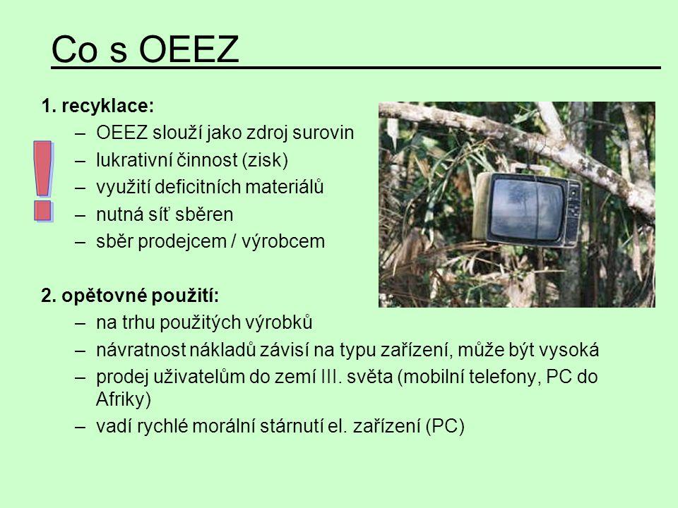 Co s OEEZ ! 1. recyklace: OEEZ slouží jako zdroj surovin