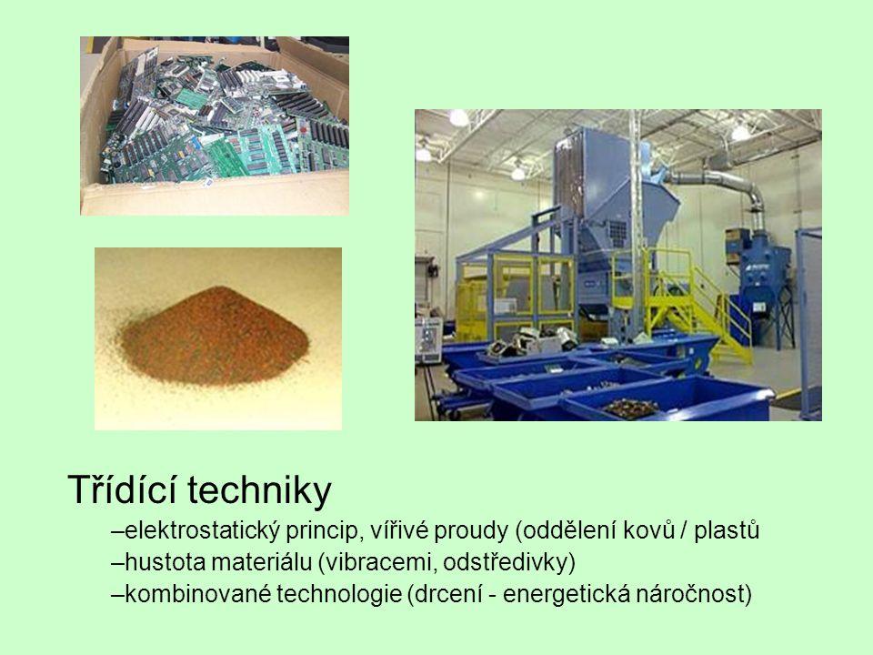 Třídící techniky elektrostatický princip, vířivé proudy (oddělení kovů / plastů. hustota materiálu (vibracemi, odstředivky)