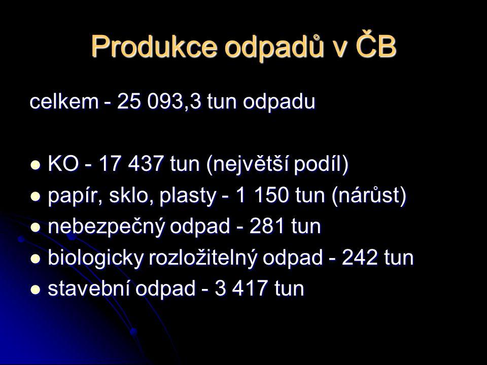 Produkce odpadů v ČB celkem - 25 093,3 tun odpadu