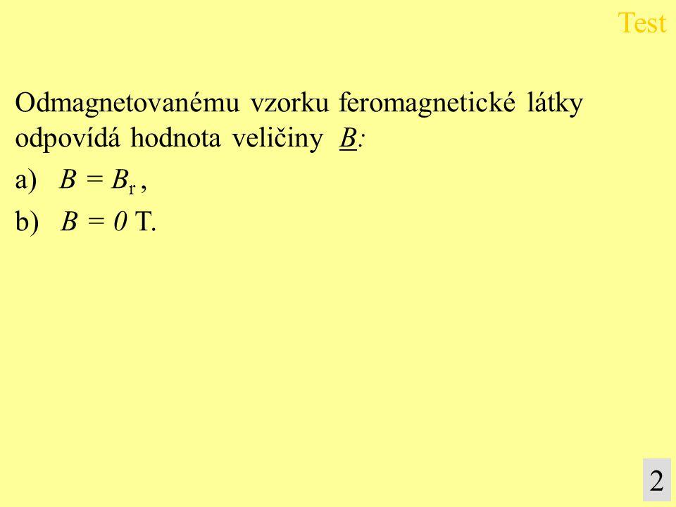 Test 2 Odmagnetovanému vzorku feromagnetické látky