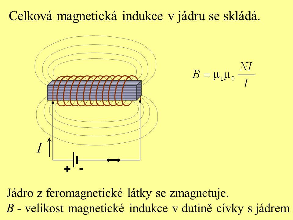 Celková magnetická indukce v jádru se skládá.