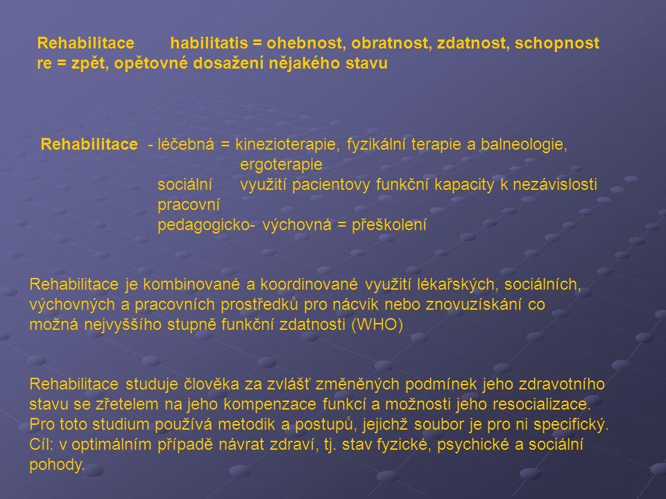 Rehabilitace habilitatis = ohebnost, obratnost, zdatnost, schopnost