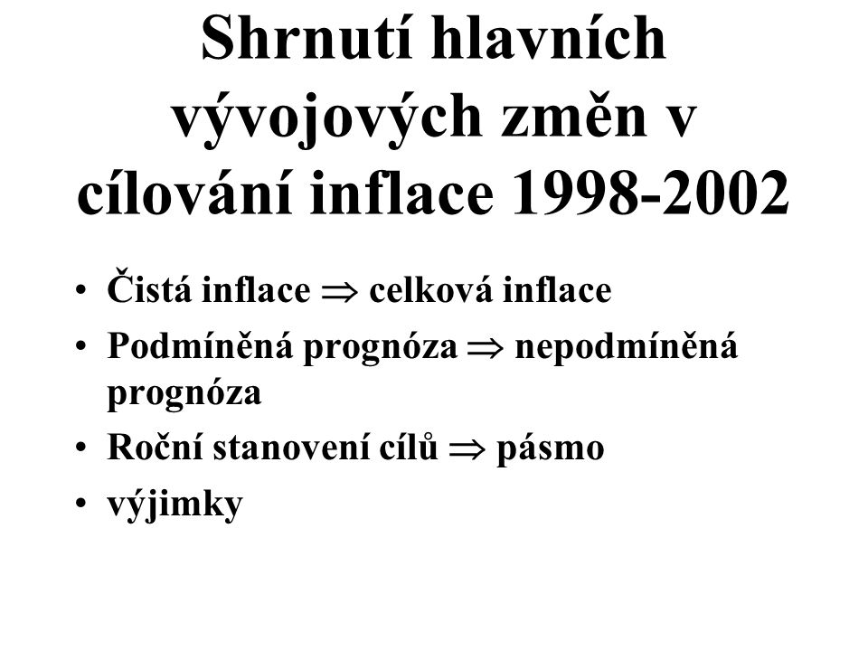 Shrnutí hlavních vývojových změn v cílování inflace 1998-2002