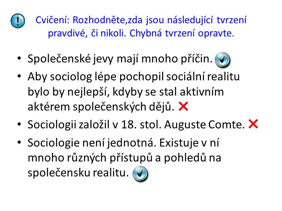 Společenské jevy mají mnoho příčin.