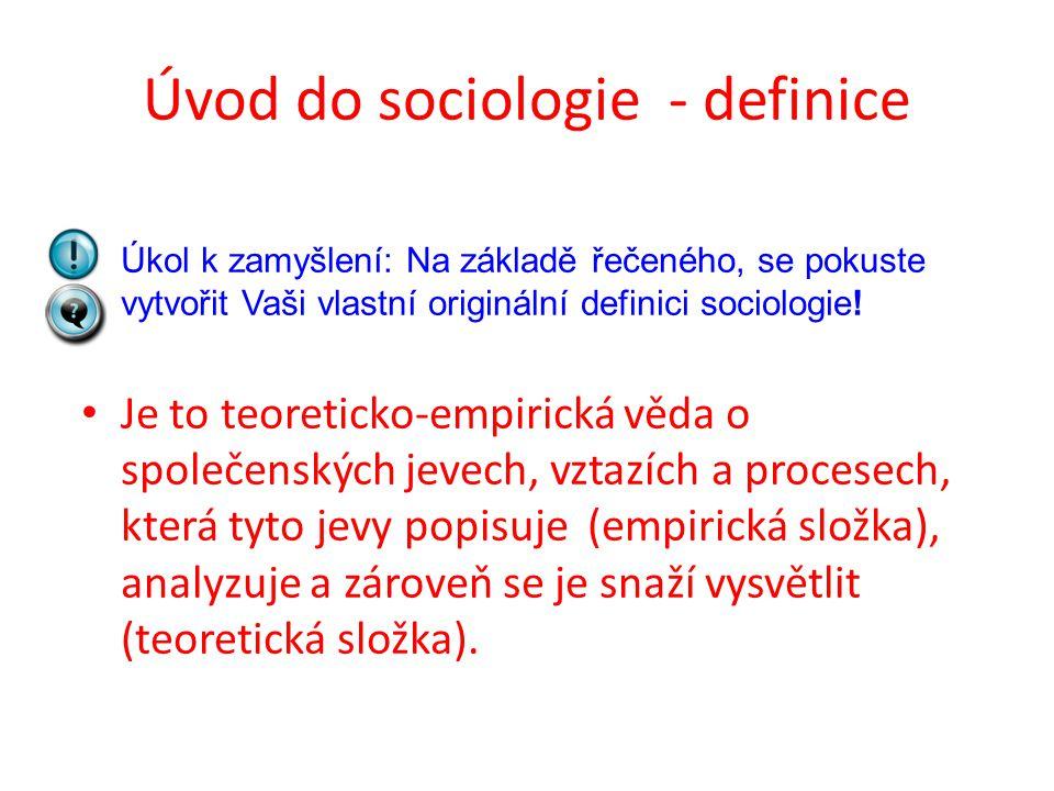 Úvod do sociologie - definice