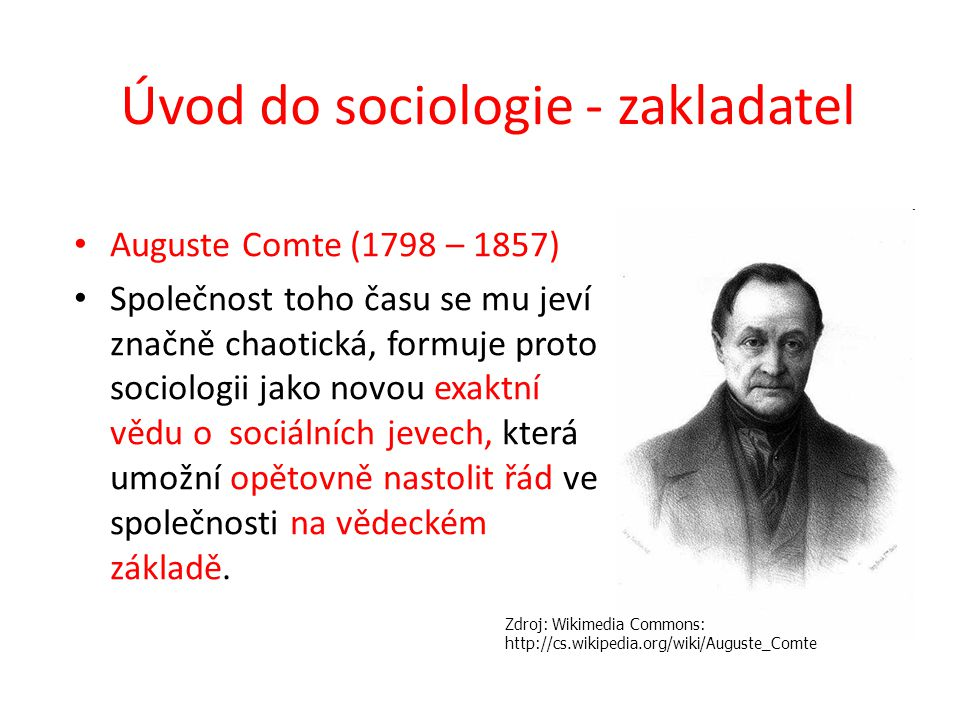 Úvod do sociologie - zakladatel