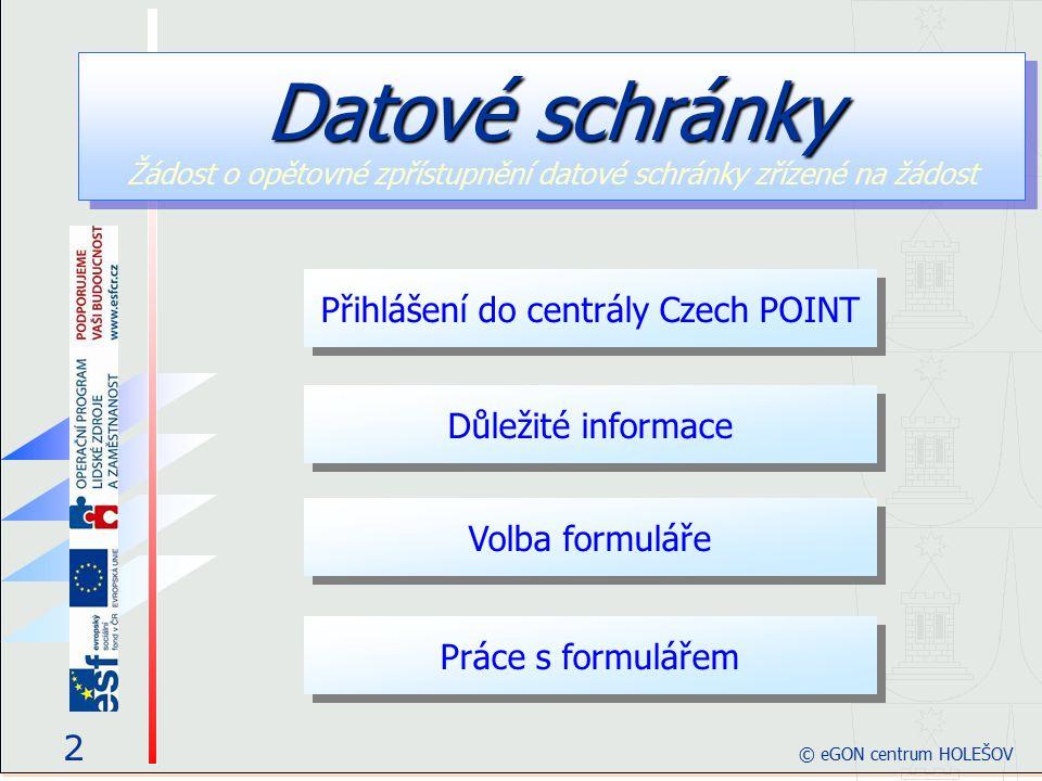 Přihlášení do centrály Czech POINT