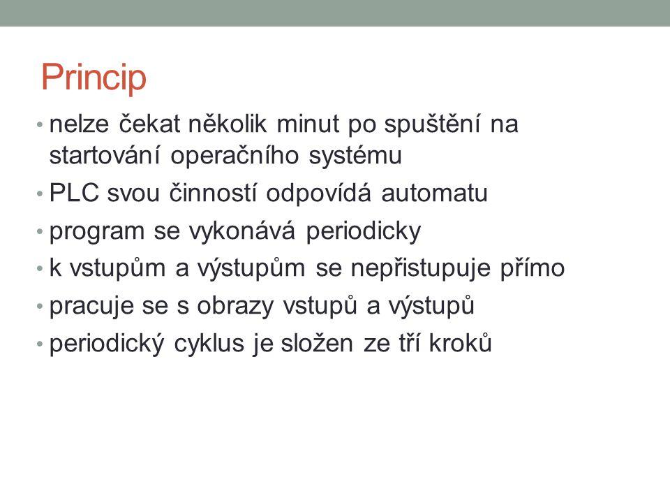 Princip nelze čekat několik minut po spuštění na startování operačního systému. PLC svou činností odpovídá automatu.