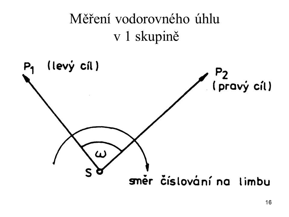 Měření vodorovného úhlu v 1 skupině