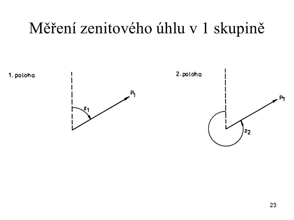 Měření zenitového úhlu v 1 skupině