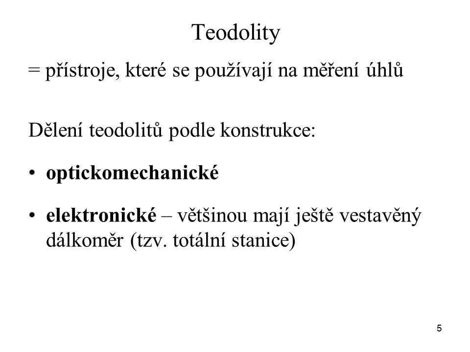 Teodolity = přístroje, které se používají na měření úhlů