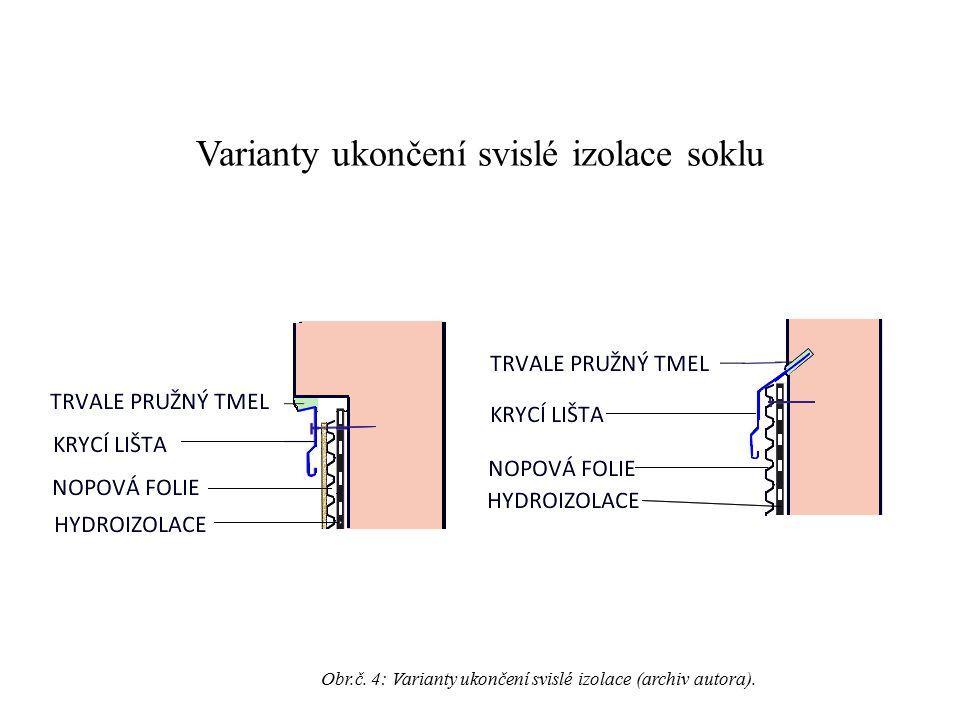Varianty ukončení svislé izolace soklu