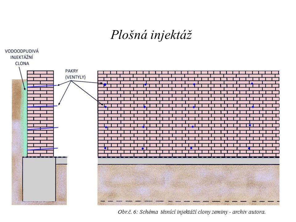 Plošná injektáž Obr.č. 6: Schéma těsnící injektáží clony zeminy - archiv autora.