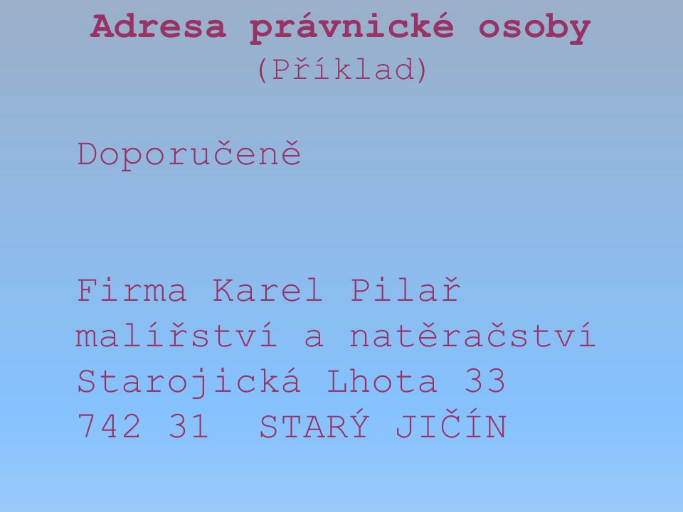 Adresa právnické osoby