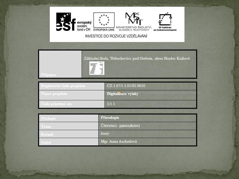 Příjemce Základní škola, Třebechovice pod Orebem, okres Hradec Králové. Registrační číslo projektu.