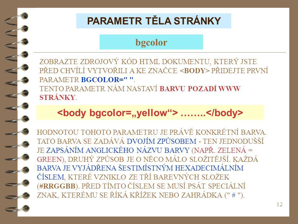 "<body bgcolor=""yellow > ……..</body>"