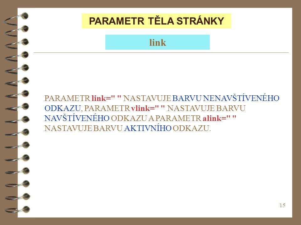 PARAMETR TĚLA STRÁNKY link