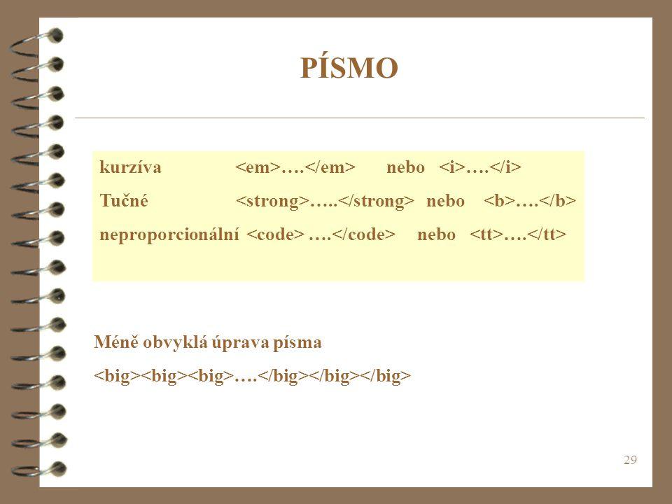 PÍSMO kurzíva <em>….</em> nebo <i>….</i>