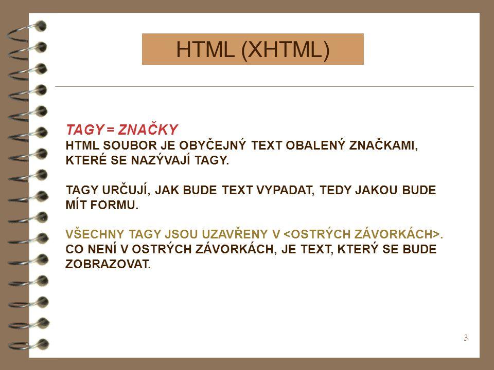 HTML (XHTML) TAGY = ZNAČKY