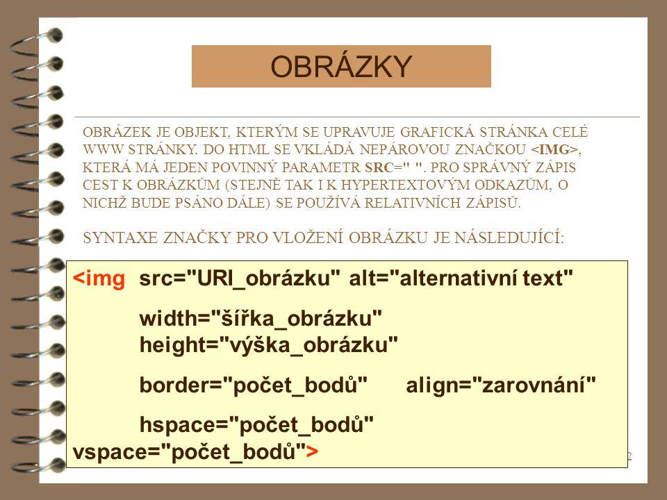 OBRÁZKY <img src= URI_obrázku alt= alternativní text