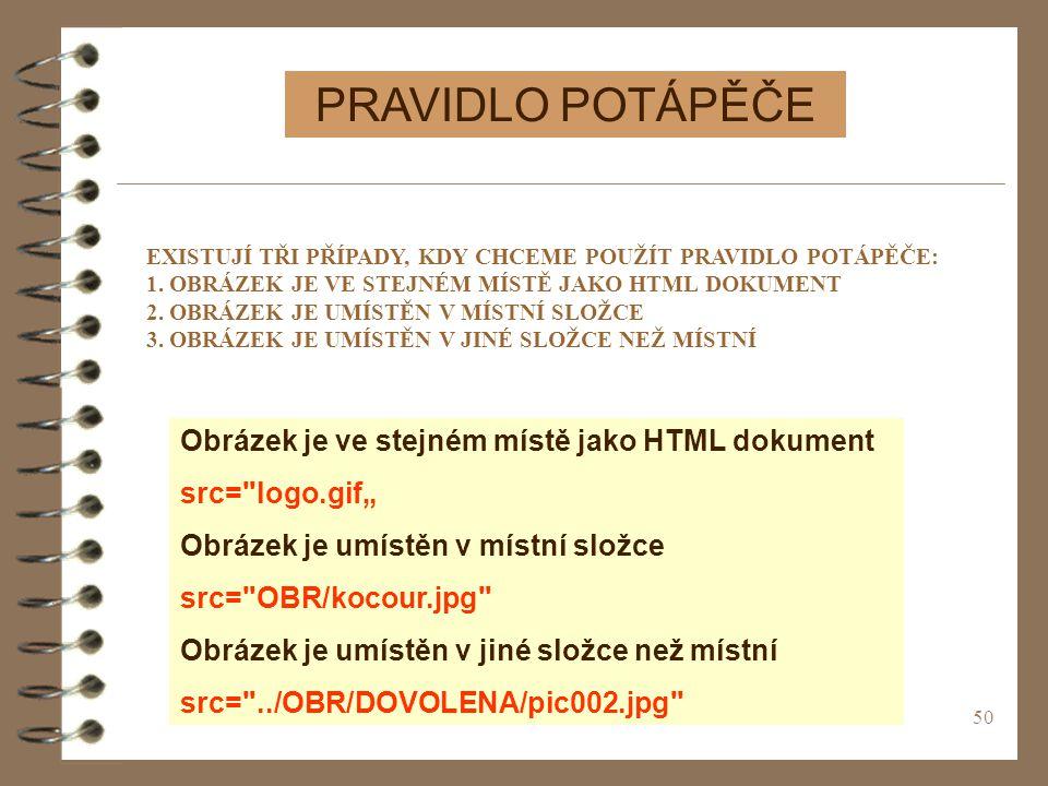 PRAVIDLO POTÁPĚČE Obrázek je ve stejném místě jako HTML dokument