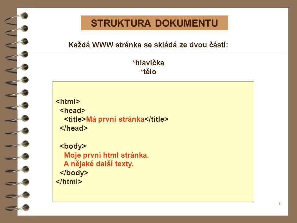 Každá WWW stránka se skládá ze dvou částí: