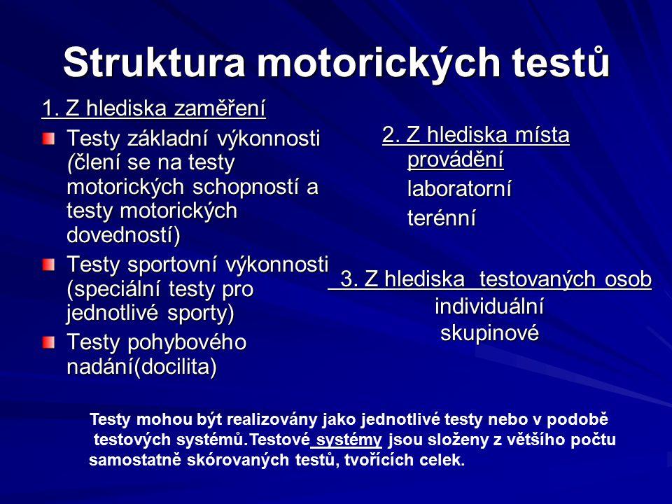 Struktura motorických testů