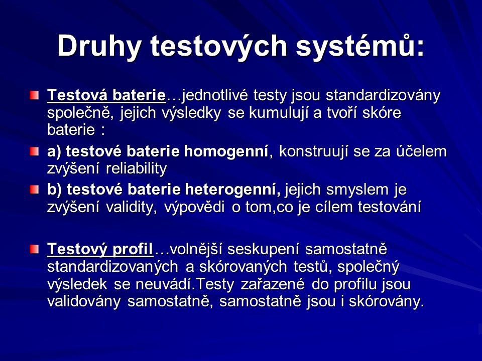 Druhy testových systémů: