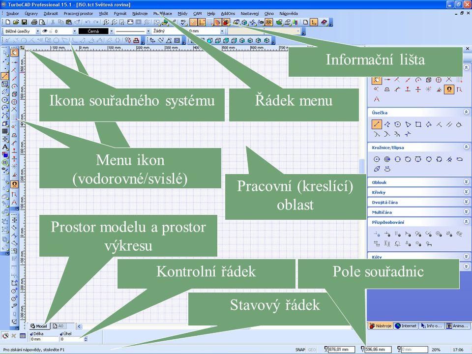 Ikona souřadného systému Řádek menu