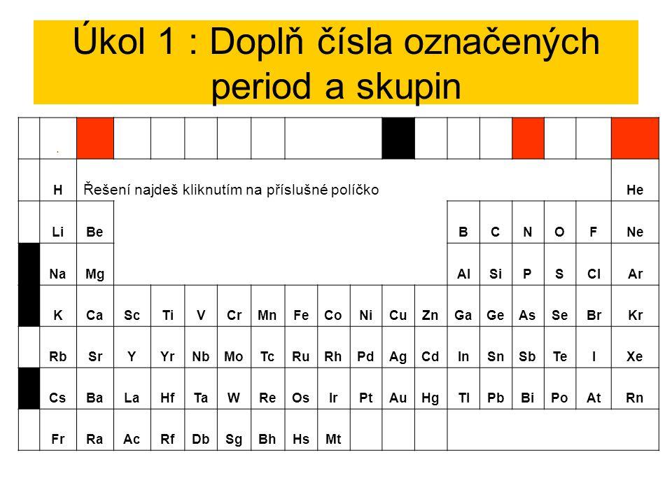 Úkol 1 : Doplň čísla označených period a skupin