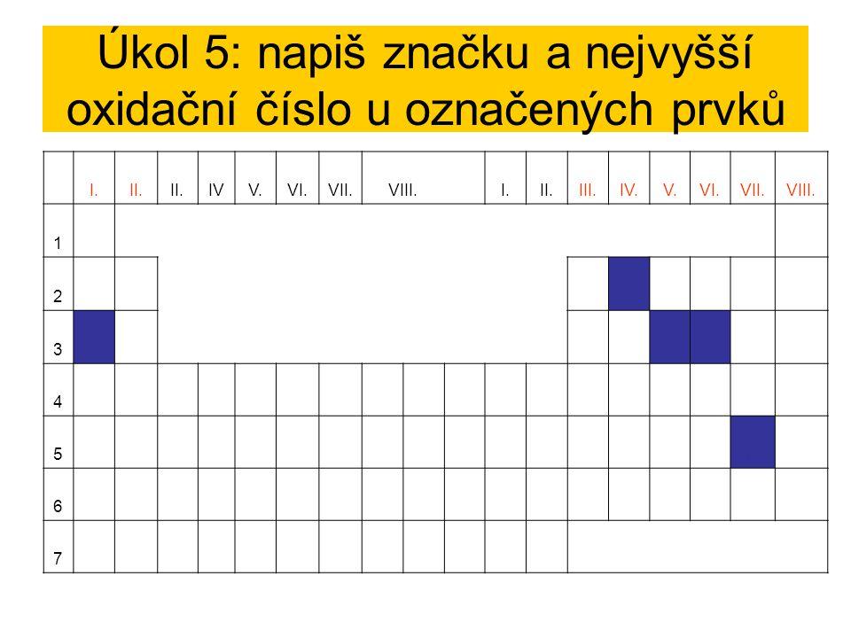 Úkol 5: napiš značku a nejvyšší oxidační číslo u označených prvků