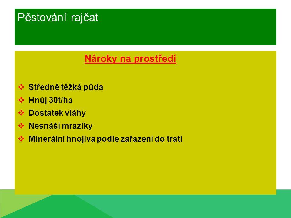 Pěstování rajčat Nároky na prostředí Středně těžká půda Hnůj 30t/ha