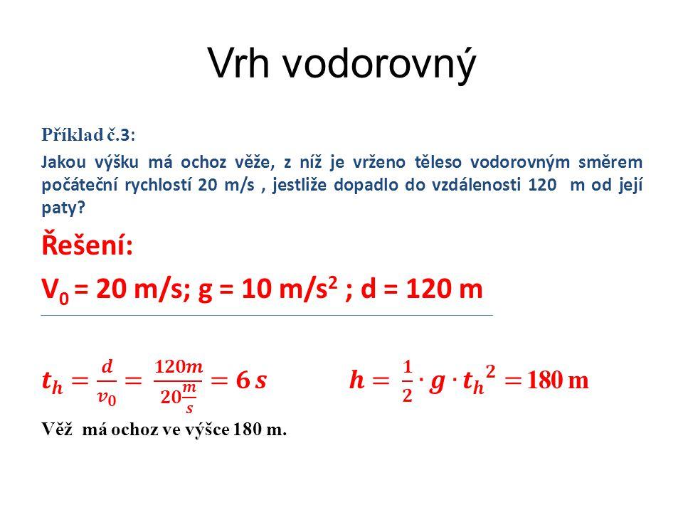 Vrh vodorovný Řešení: V0 = 20 m/s; g = 10 m/s2 ; d = 120 m