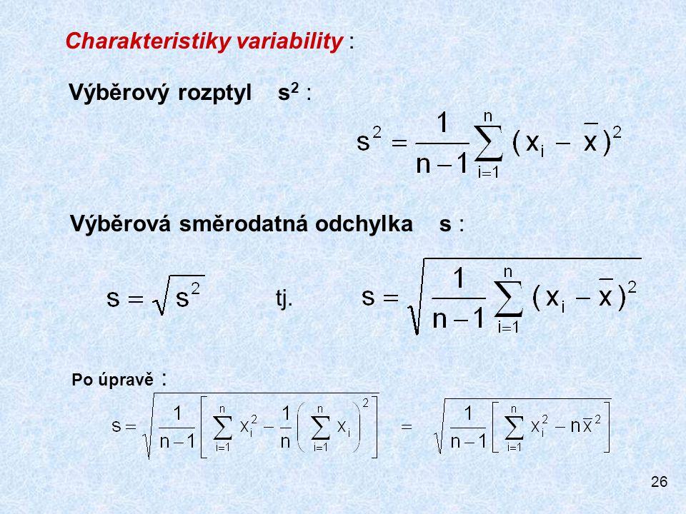 Charakteristiky variability :
