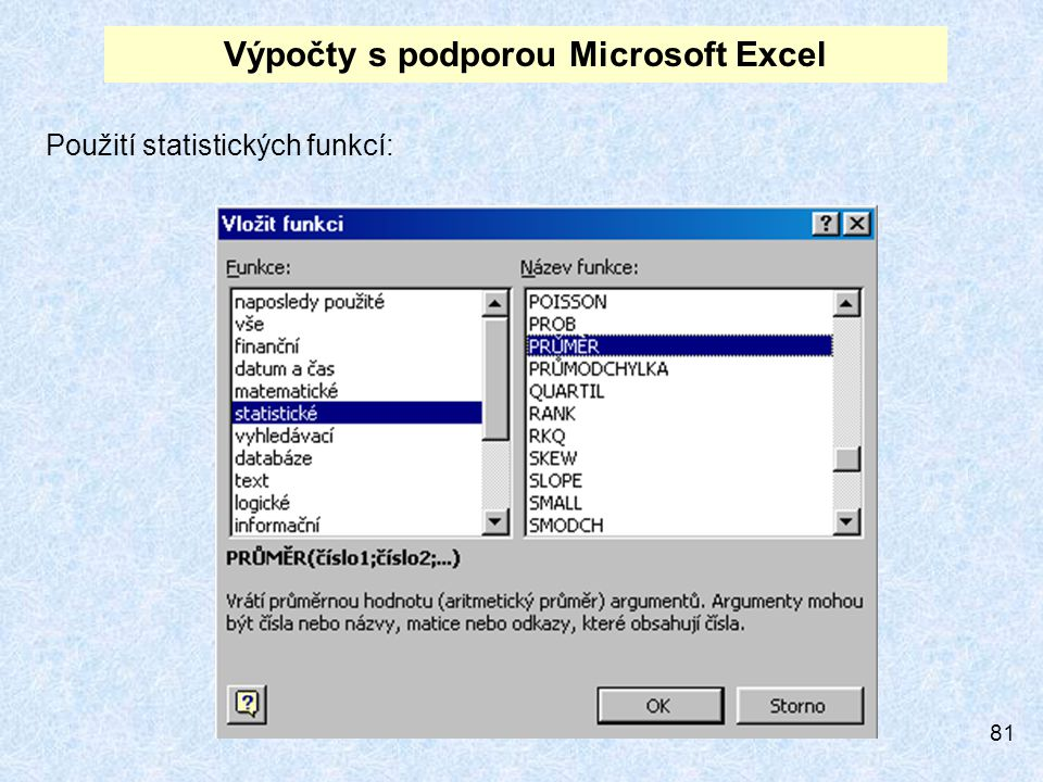 Výpočty s podporou Microsoft Excel