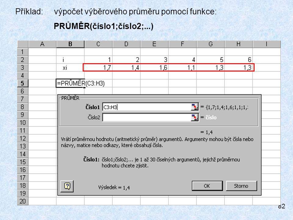 Příklad: výpočet výběrového průměru pomocí funkce: