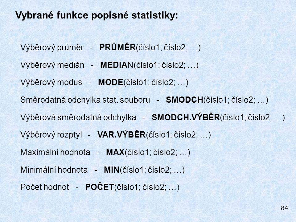 Vybrané funkce popisné statistiky: