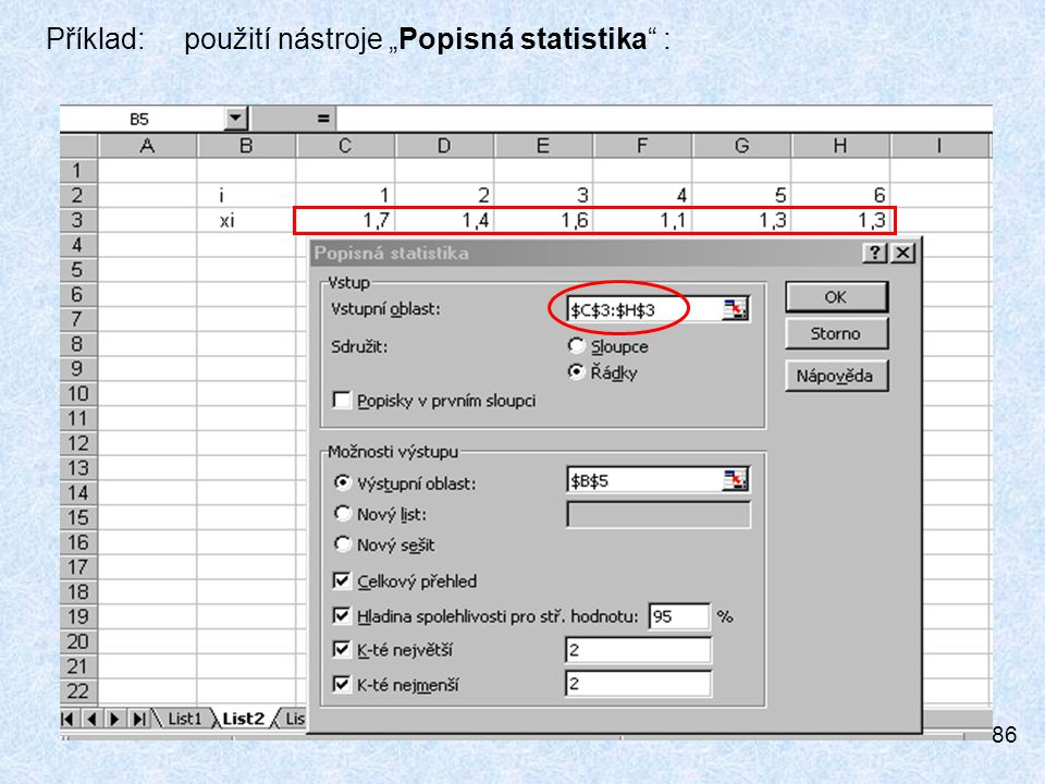 """Příklad: použití nástroje """"Popisná statistika :"""