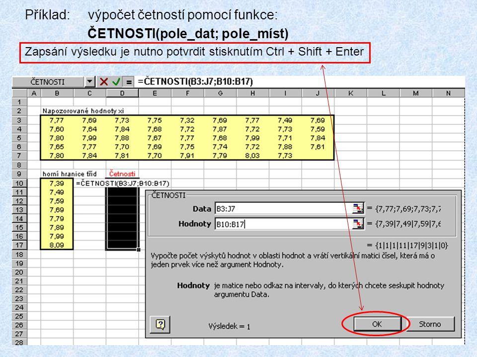 Příklad: výpočet četností pomocí funkce: ČETNOSTI(pole_dat; pole_míst)