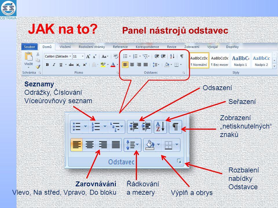 JAK na to Panel nástrojů odstavec Seznamy Odrážky, Číslování