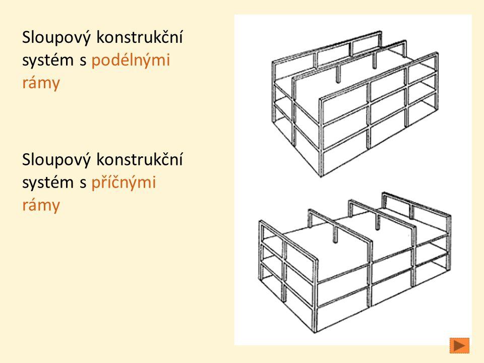 Sloupový konstrukční systém s podélnými rámy Sloupový konstrukční systém s příčnými rámy