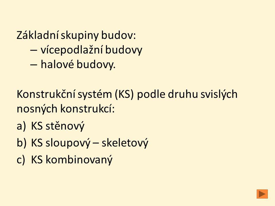 Základní skupiny budov: